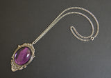 Purple Cabochon in Pewter Frame Pendant Necklace Vampire Jewelry NK-620P