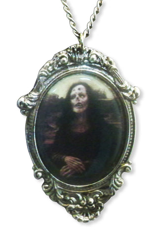 Zombie Mona Lisa In Silver Pewter Frame Pewter Pendant Necklace NK-620