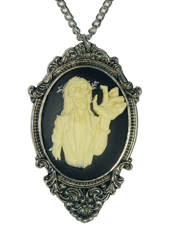 Zombie Cameo Ivory on Black In Silver Pewter Frame Pendant Necklace NK-623