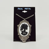 Gothic Lolita Skull Cameo Black on White in Pewter Frame Pendant Necklace NK-624