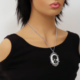 Gothic Lolita Skull Cameo Black on White in Silver Frame Pendant Necklace NK-629BW