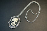 Gothic Lolita Skull Cameo Ivory on Black in Silver Frame Pendant Necklace NK-629IB
