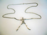 Gothic Skeleton with Moving Arms and Legs Silver Pewter Pendant Necklace NK-630