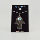 Lucky Hamsa Hand Evil Eye Amulet Silver Pewter Pendant Necklace NK-631