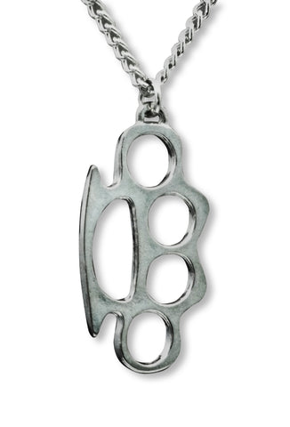 Brass Knuckles Polished Silver Finish Pewter Pendant Necklace NK-637