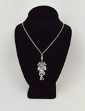 Double Dragon Sword with Blue Crystal Pendant Necklace NK-646