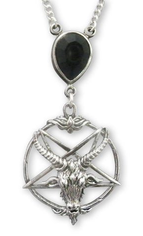 Gothic Baphomet with Black Crystal Silver Pewter Pendant Necklace NK-647