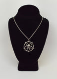 Gothic Skull on Inverted Pentacle Pewter Pendant Necklace NK-64