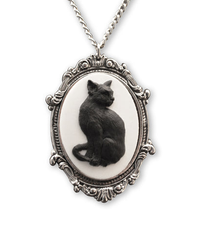 Black Cat Cameo in Antique Silver Frame Pendant Necklace NK-653