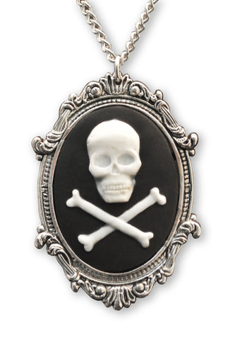 Skull And Crossbones Cameo In Silver Frame Pendant Necklace NK 654
