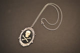 Skull and Crossbones Cameo in Silver Frame Pendant Necklace NK-654