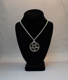 Silver Pentacle with Hand Painted Black Enamel Pendant Necklace NK-656