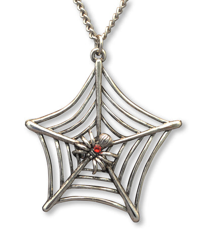 Spider on Web with Red Crystal Silver Pewter Pendant Necklace (large) NK-662