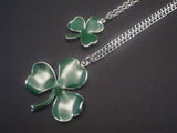 Irish Shamrock Dangle Earrings Green Enamel on Silver Finish Pewter #1037