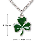 Irish Shamrock Pendant Necklace Green Enamel on Pewter Medium Size NK-667