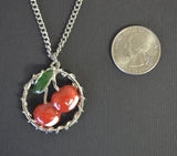 Retro Red Cherries in Vines Classic Pendant Necklace NK-673