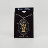 Antiqued Sitting Satanic Baphomet Cameo In Silver Finish Frame Necklace Pendant NK-674 ANT