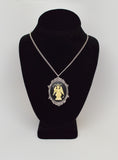 Sitting Satanic Baphomet Cameo In Silver Finish Frame Necklace Pendant Ivory on Black NK-674