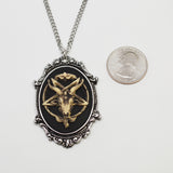 Antiqued Goat Head Satanic Baphomet Cameo Bone on Black In Silver Finish Frame Necklace Pendant NK-675 ANT