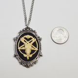 Baphomet Cameo In Silver Finish Frame Goat Head Satanic Ivory on Black Necklace Pendant NK-675