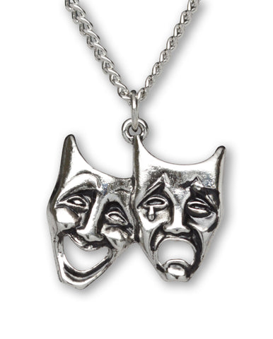 Comedy Tragedy Masks Silver Finish Pewter Pendant Necklace NK-676