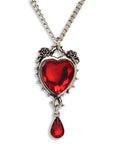 Gothic Romance Red Heart Austrian Crystals Thorns and Roses Romance Pendant Necklace NK-677