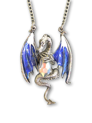 Blue Dragon Holding Faceted Crystal Medieval Renaissance Pendant Necklace NK-491B