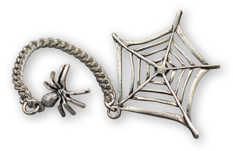 Spider on Chain with Web Jacket or Hat Pin Silver Finish Pewter P-39
