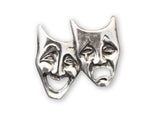 Comedy Tragedy Masks Silver Pewter Hat or Jacket Pin P-48