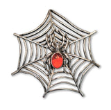 Spider with Red Stone Body in Web Silver Pewter Pin P-55