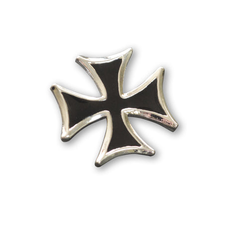 Maltese Cross Surfers Cross Jacket or Hat Pin Black Enamel and Silver Pewter (medium) P-5