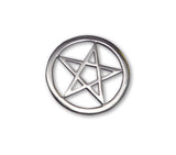 Gothic Pentacle Jacket or Hat Pin Polished Silver Finish Pewter P-62