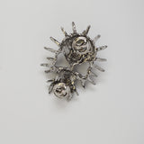 Gothic Spiked Skull with Fangs Jacket or Hat Pin Antique Silver Finish Pewter P-64