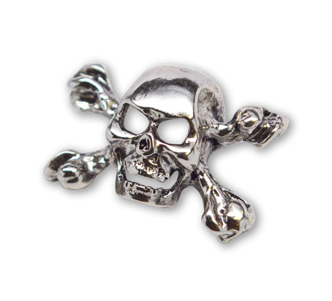 Gothic Skull and Crossbones Jacket or Hat Pin Polished Silver Finish Pewter P-68