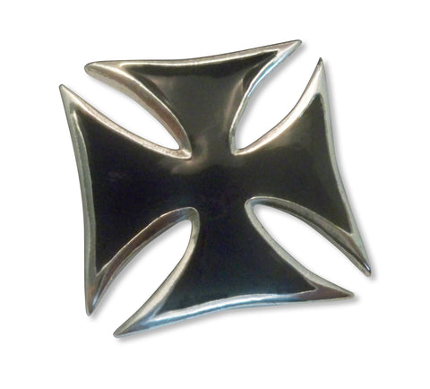 Maltese Cross Surfers Cross Jacket or Hat Pin Black Enamel and Silver Pewter (large) P-69