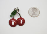 Retro Cherry Jacket or Hat Pin Classic Pewter Red and Green Enamel P-70