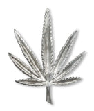 Marijuana Pot Leaf Silver Pewter Jacket or Hat Pin Large P-72S
