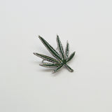 Marijuana Pot Leaf Green Enamel on Silver Pewter Jacket or Hat Pin Large P-72