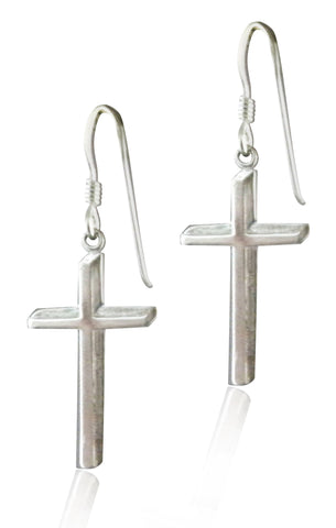 Sterling Silver Shadow Cross Dangle Earrings SS006