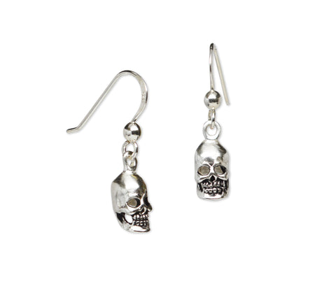 Gothic Skulls Sterling Silver 925 Dangle Earrings SS016