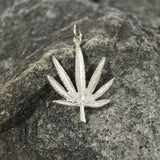 Sterling Silver Marijuana Pot Leaf Weed Pendant SSNK-49