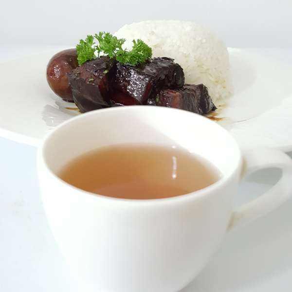 Braised Pork Belly with rice paired with No. 3, Earthy Rich Aroma Iron Goddess Tea