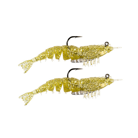 "EZ SHRIMPZ RIGGED 3.5"" GOLD FLAKE2PK"