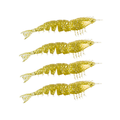 "EZ SHRIMPZ UNRIGGED 3.5"" GOLD FLAKE4PK"