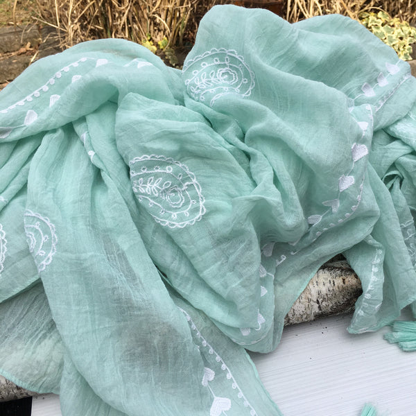 Mint Green Embroidered Cotton Scarf - Sinchi®