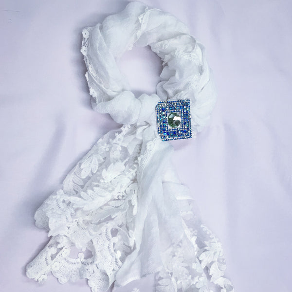 White Lace Cotton Scarf - Sinchi®