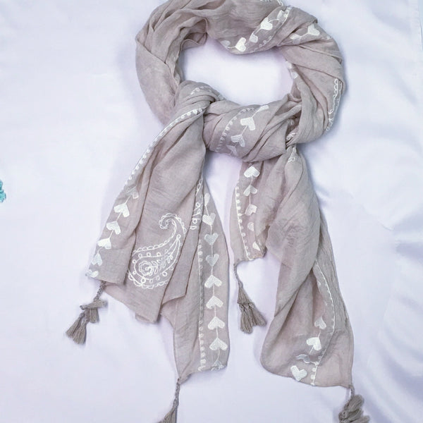 Taupe Embroidered Cotton Scarf - Sinchi®