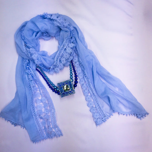 Periwinkle Blue Lace Cotton Scarf - Sinchi®
