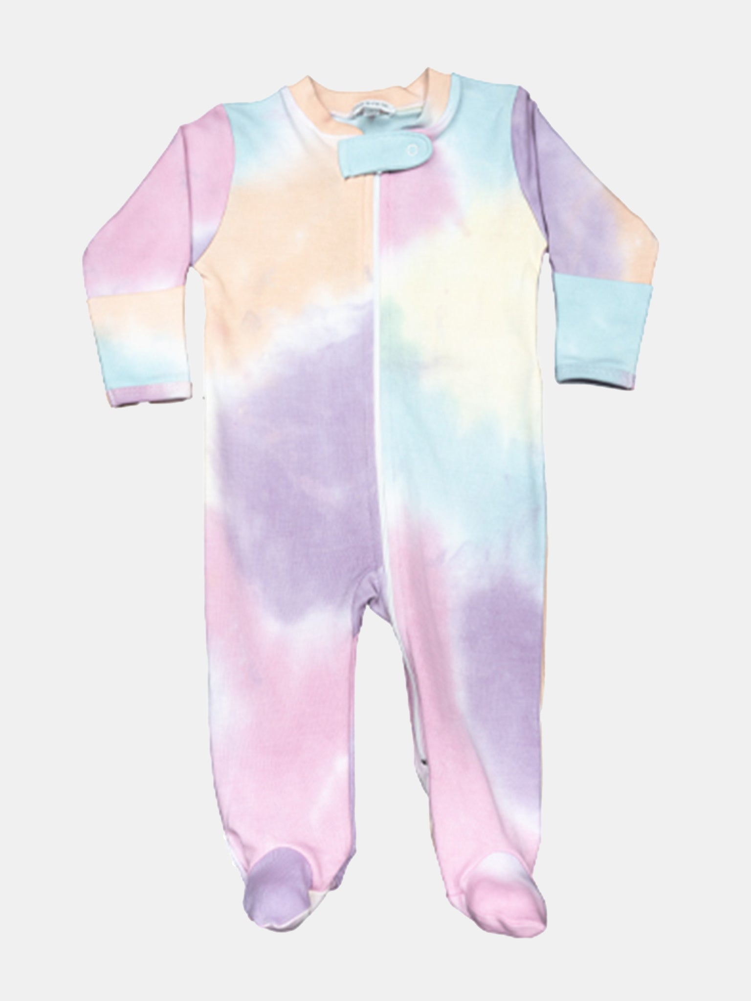 Baby Noomie Little Girls' Rainbow Tie Dye Zipper Footie