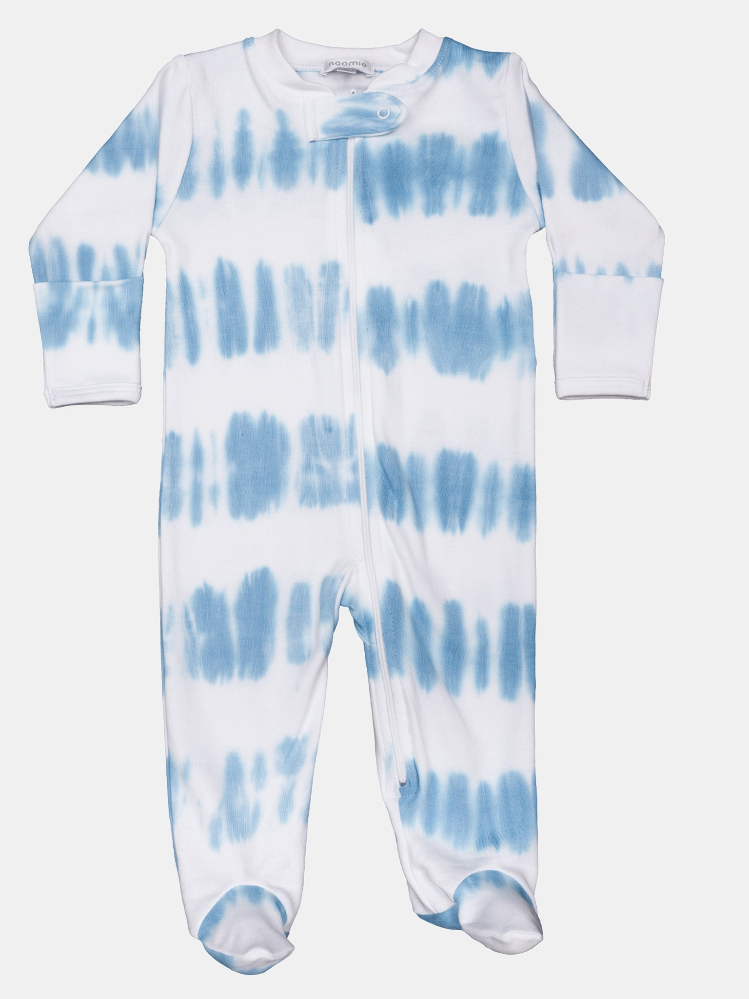 Baby Noomie Little Boys' Striped Tie Dye Zipper Footie